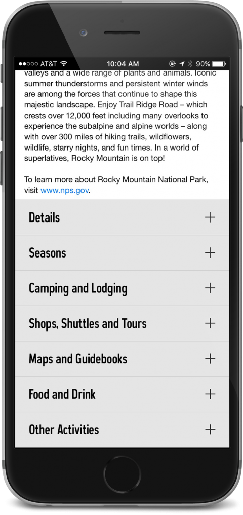 REI App showing weather and other details of Rocky Mountain National Park
