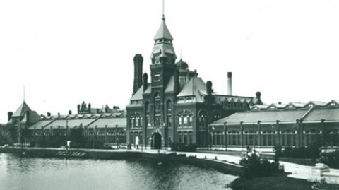 A historic black and white image of Pullman National Monument