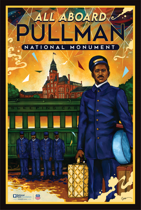 Vintage style travel poster advertising Pullman National Monument