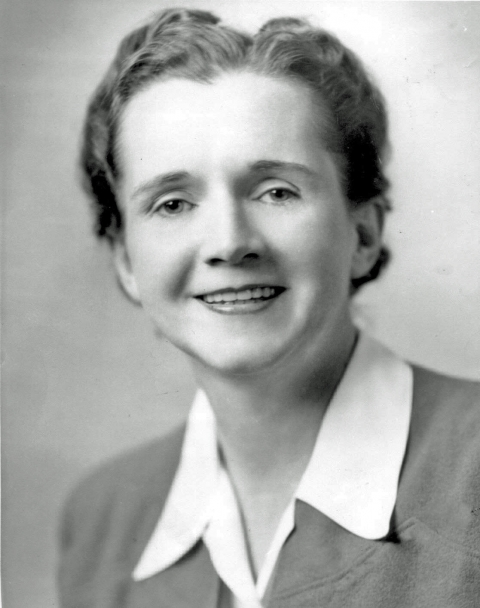 Black and white photo of Rachel Carson