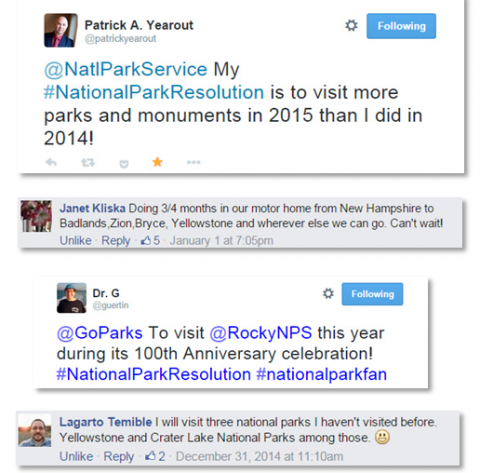 National park community shares their New Year's national park resolutions