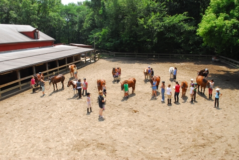 A group of horseback riders at Rock Creek Park's equestrian center