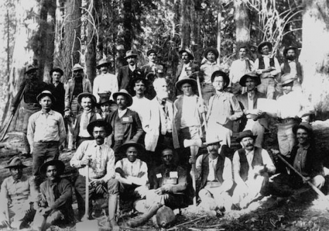 The road crew comprised of white men and African American Buffalo Soldiers at Sequoia and Kings Canyon National Parks