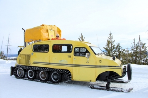 Historic yellow Bombardier snowcoaches