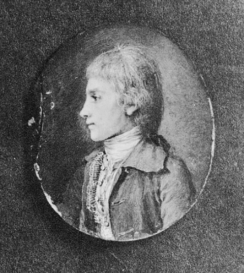 Photograph of a watercolor and ink portrait of Alexander Hamilton at age 15 in St. Croix.