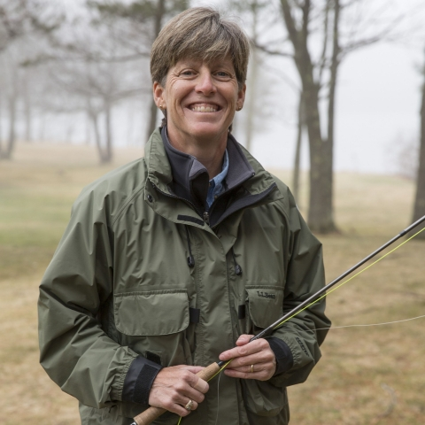 L.L. Bean Fly Fishing Instructor Sue Daignault smiles at the camera