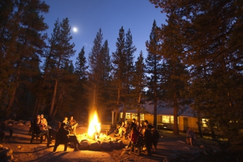 Campfire lit at the LeConte Memorial Lodge in Yosemite Valley