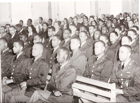 This photo was taken when military pilot training first began in 1941. By 1682, African American cadets had entered flying training at Tuskegee Army Air Field but only 994 had completed the training. This was approximately 59% of the entrants.