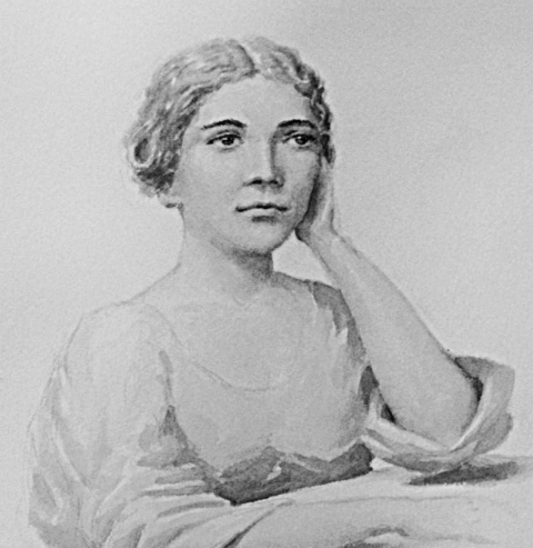 Watercolor portrait of Narcissa Whitman