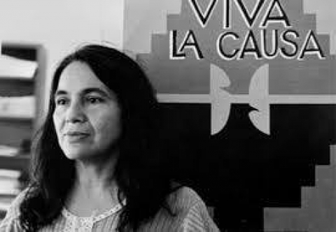 Black and white photo of Dolores Huerta
