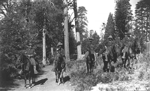 Five Buffalo Soldiers on horseback at Yosemite National Park