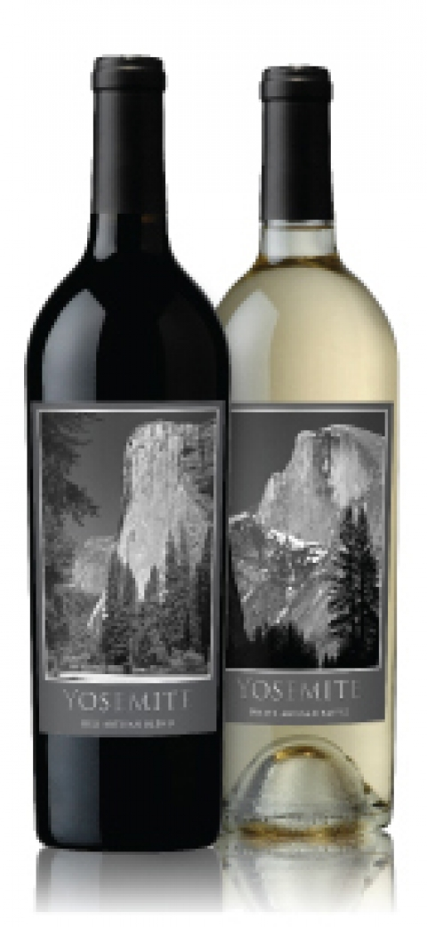 """Adler Fels Winery, in partnership with the National Park Foundation, \""""Yosemite\"""" red and white wine bottles"""