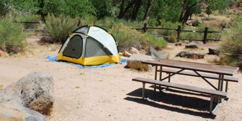 Tent and picnic table at Zion campsite