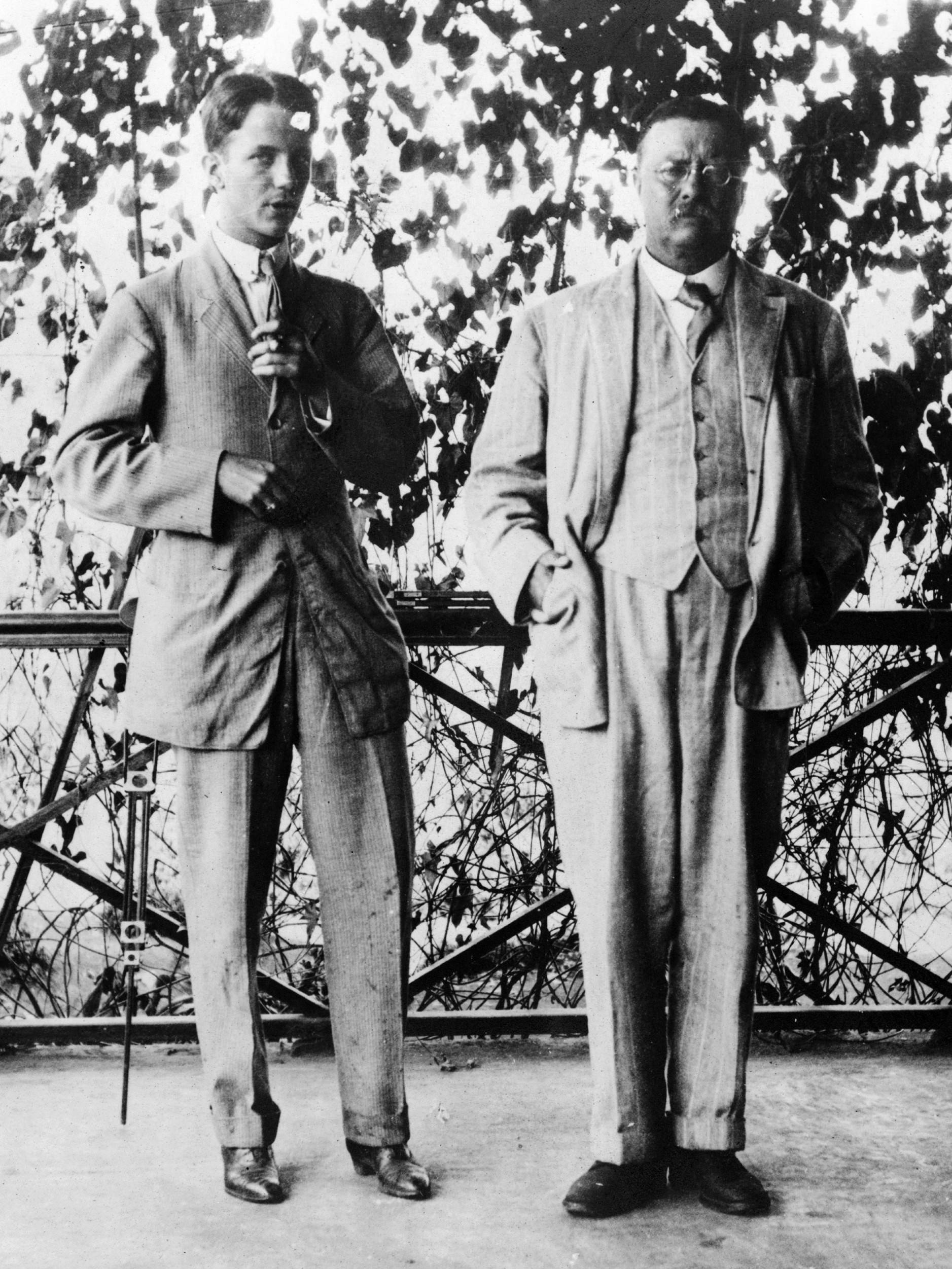 President Roosevelt at his home with an unknown friend